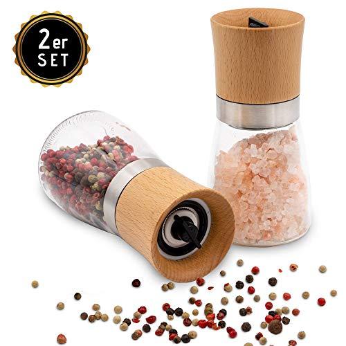 Hannah\'s Homebrand® Salz und Pfeffer Mühle mit Keramik-Mahlwerk (härter als Stahl) - moderne Salzmühle und Pfeffermühle aus Edelstahl, Holz und Glas - deutsche Marke