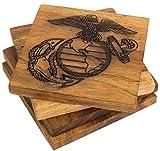 Marine Corps Coasters – USMC Eagle Globe and Anchor Engraved Acacia Wood Coasters - United States Marine Corps Décor - USMC Gifts for Retirement, Graduation, Birthday – USMC Home Decor (Set of 4)