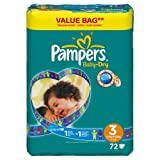 Pampers - 81329847 - Baby Dry Couches - Taille 3 - Midi 4-9 Kg - Format conomique x 72