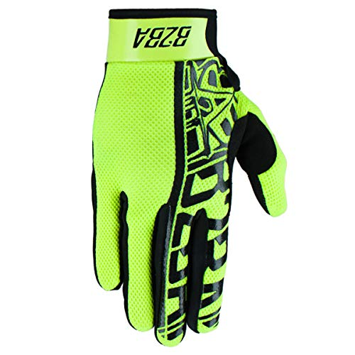B2BA Clothing RACEWEAR leichte Handschuhe Mountain Bike Downhill Enduro Motocross Freeride DH MX MTB BMX Quad Cross, schnelltrocknend, rutschfest und atmungsaktiv, Farbe Neon Gelb Schwarz, Größe M