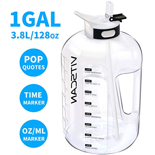 Price comparison product image 128OZ / 1 Gallon Water Bottle with Straw Motivational Water Bottle with Time Marker,  Large Water Bottle 128 Oz Water Bottle,  Big Water Jug for Sports Water Bottles,  Two Handles BPA Free (White)
