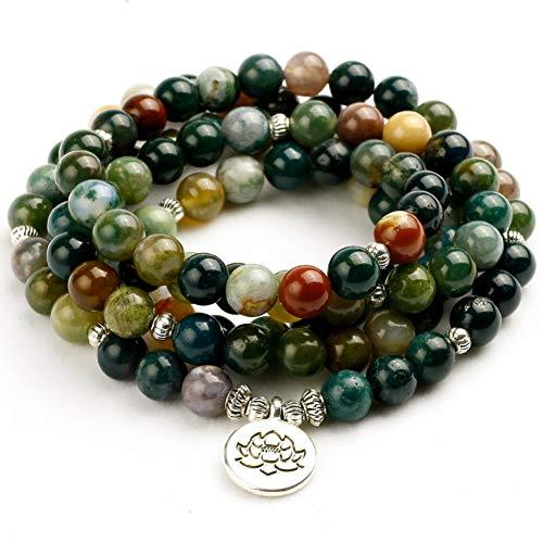 XBSZK Pulsera Tibetano Budista Mala Natural India Onyx Grano de Piedra de Doble Uso Collar de Hombre Pulsera Hombres Oración de Yoga para Meditación Regalo