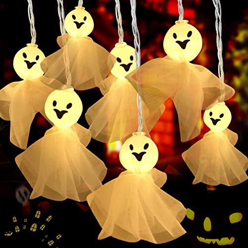 Cadena de Luces Halloween, Fantasma Guirnalda Luces 30 LED, Luces de hadas de Pilas, Impermeable Luces de Fantasma para Halloween, Navidad, Acción de Gracias, Decoración de Interiores y Exteriores
