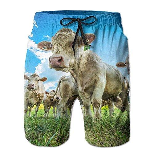 Himmelblau Gras Wolken Kuh Tiere Männer/Jungen Lässige Badehose Kurze Strandhose mit elastischer Taille und Taschen