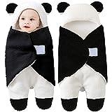 Wickeldecke mit Kapuze für Babys, Neugeborenes erhält Wickeldecke aus Fleece Schlafsack für Babys und Mädchen (Schwarz)