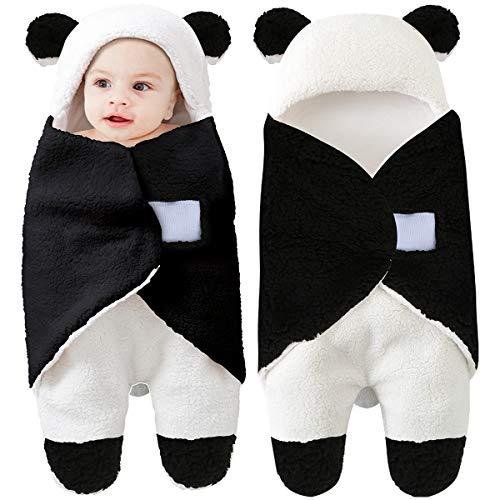 Newborn Baby Receiving Blanket Wearable Cute Panda Swaddle Blanket Fleece Sleeping Bag(Panda,0-12 Months)
