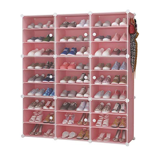 N/Z Home Equipment Portable Shoe Storage Organzier Tower Modular Cabinet for Space Saving Ideal Shoe Rack for Shoes Boots Slippers Multi-Functional (Color : Pink Size : 124x32x139cm)