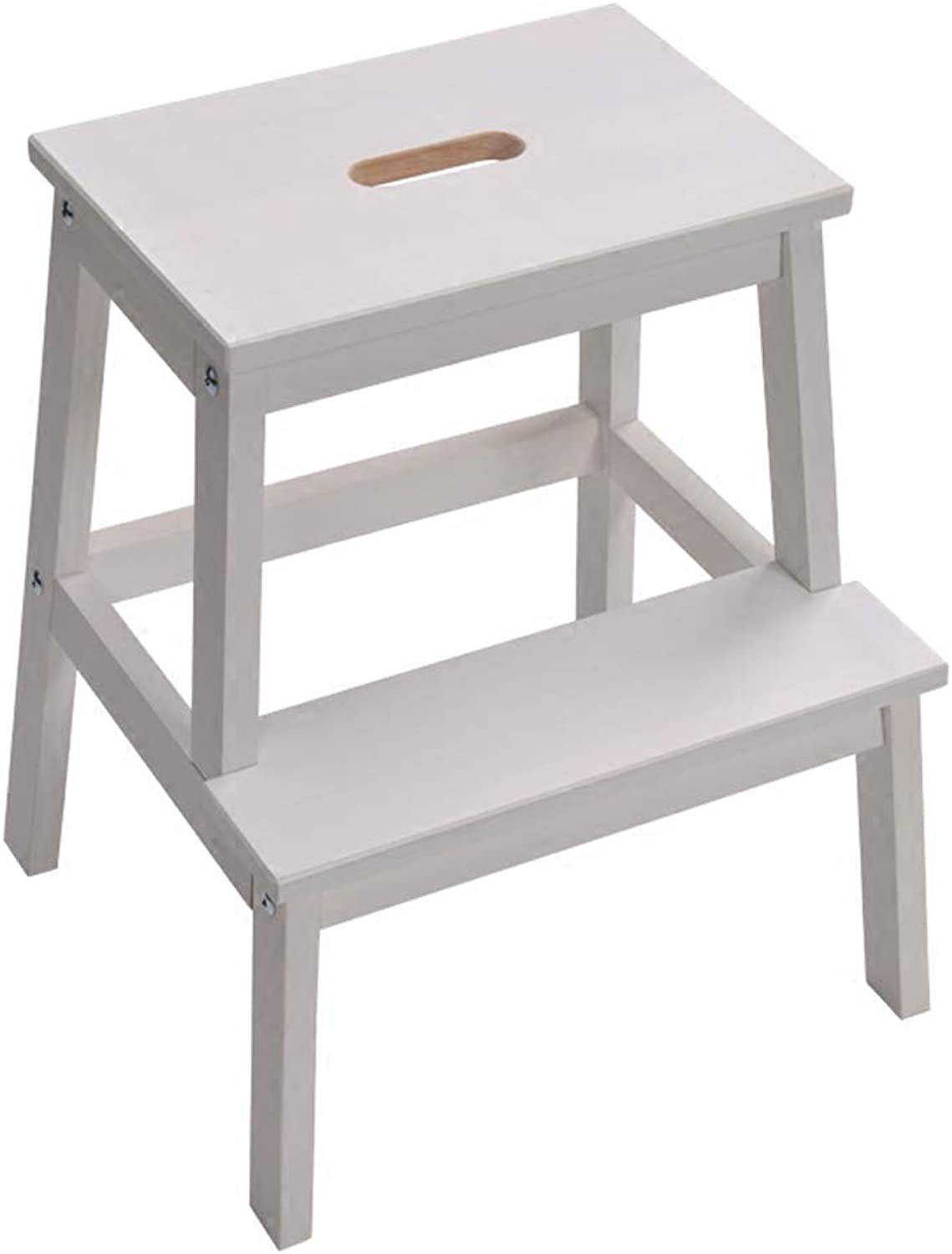 WFFXLL Step Stool Solid Wood Ladder Home shoes Stool High Stool Step Stool (color   White)