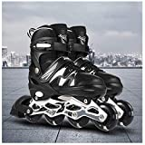 JKlb Adjustable Inline Roller Skates Roller Blades with Illuminating Light Up Wheels for Kids Teens Comfortable Inline Skates Children Adults Men Women Pro Skating PU-Black and white_L