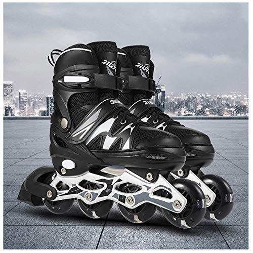 JKlb Verstellbare Inline Rollschuhe Rollschuhe Mit Beleuchteten Leuchträdern für Kinder Teenager Bequeme Inline Skates Kinder Erwachsene Männer Frauen Pro Skating Pu-Schwarz Und Weiß_L (39-42)