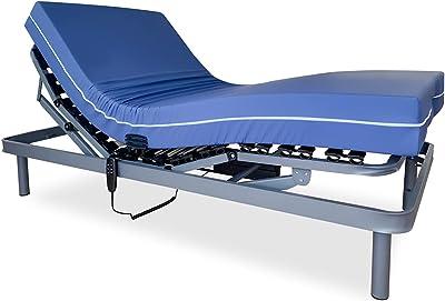 Duérmete Online Pack lit articulé électrique renforcé 5 Niveaux + Matelas sanitaire viscoélastique imperméable, Gris Anthracite, 90 x 180 cm