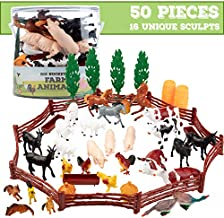 SCS Direct Farm Animal Toys Action Figures 50 Piece Toy Playset - 16 Unique Barnyard Animals and Accessories- Includes Cows, Horses, Chickens, Pigs and More