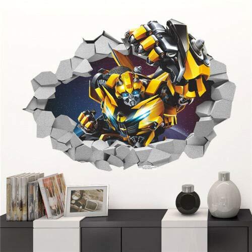 WOCAO Cartoon 3D Bumblebee Transformers Decal Break Wall Sticker Kids Room Decor PVC