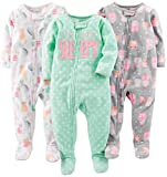 Simple Joys by Carter's Baby Girls' 3-Pack Loose Fit Flame Resistant Fleece Footed Pajamas, Owl/Cats/Dot, 24 Months