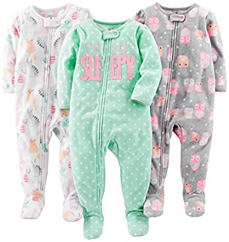 Simple Joys by Carter s Baby Girls  Toddler 3-Pack Loose Fit Flame Resistant Fleece Footed Pajamas Owl/Cats/Dot 2T