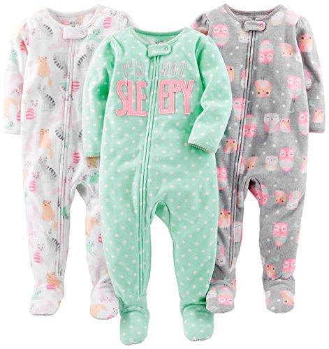 Simple Joys by Carter's pijama de forro polar suelto para bebés y niñas pequeñas, paquete de 3 ,Owl/Cats/Dot ,18 Meses