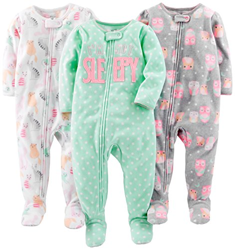 Simple Joys by Carter's Baby Girls' 3-Pack Loose Fit Flame Resistant Fleece Footed Pajamas, Owl/Cats/Dot, 18 Months