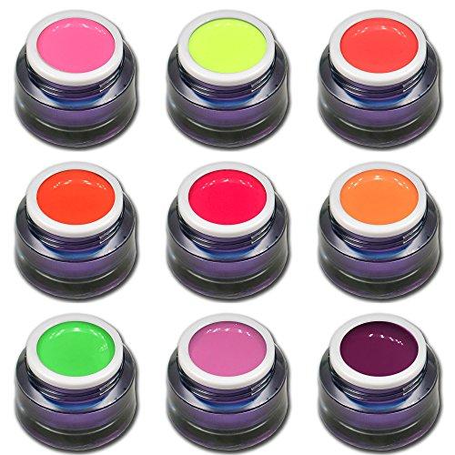Candy Pop Colors Lot de 9 gels colorés fluo de qualité supérieure (9 x 5 ml)