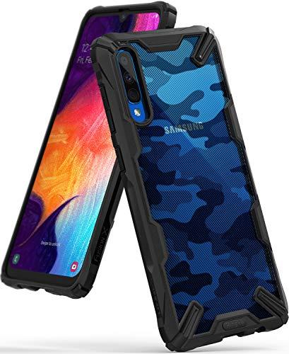Ringke Fusion-X DDP fürs Galaxy Galaxy A50, A30S Hülle, Handschlaufe Loch im Rand mit Kratzfest Fingerabdruckfest 3D Militär Muster - Camo Black Schwarz