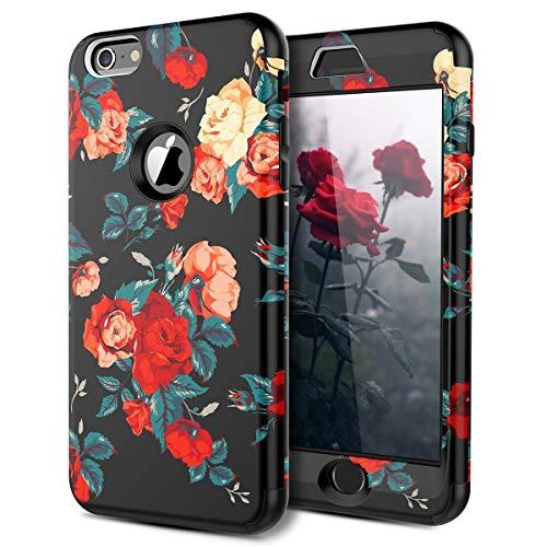 WE LOVE CASE iPhone 6 Plus Cover Rose Fiori 360-Grad All Inclusive Custodia Rosso Cassa PC Plastica Silicone Protezione Anti Graffio Caso per Apple iPhone 6 Plus / 6s Plus 5,5'