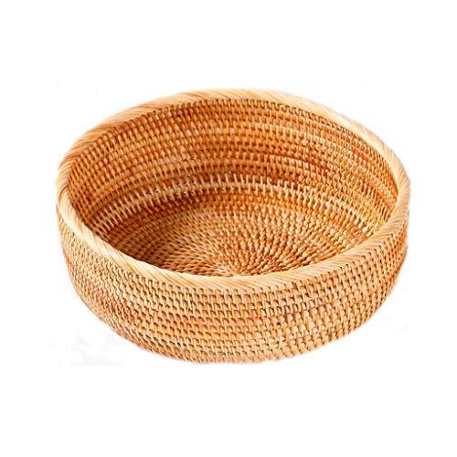 Rattan fruitmand fruitschaal Bread Basket Taro Basket Snack Storage Basket Candy Box Melon Box Drie (Maat: L-26cm) Mooie en praktische fruitschaal. (Size : S-20.3CM)