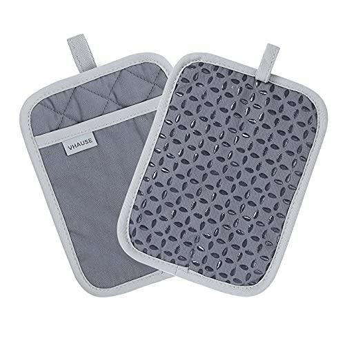 VHAUSE Topflappen mit Tasche 2er Set - Baumwolle Hot Pads mit Rutschfestem Silikongriff und Haken Hitzebeständige Küchentopfhalter Untersetzer zum Kochen Backen Waschbare Vintage Grau