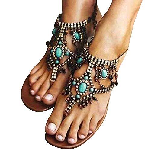 Sumen Women Bohemian Beaded Ankle Strap Sandals Rhinestone Flat Beach Flip Flop Shoes (41, Blue)