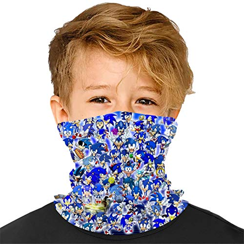 Soni-c The-Hedgehog Kids Face Mask Scarf Breathable Balaclava Reusable Mouth Cover Dust Protection Neck Gaiter for Boys Girls White