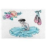 MZTYPLK Rompecabezas de 1000 Piezas,Rompecabezas de imágenes,Ilustración Acuarela Bailarina Vestido Azul Flores,Juguetes Puzzle for Adultos niños Interesante Juego Juguete Decoración para El Hogar
