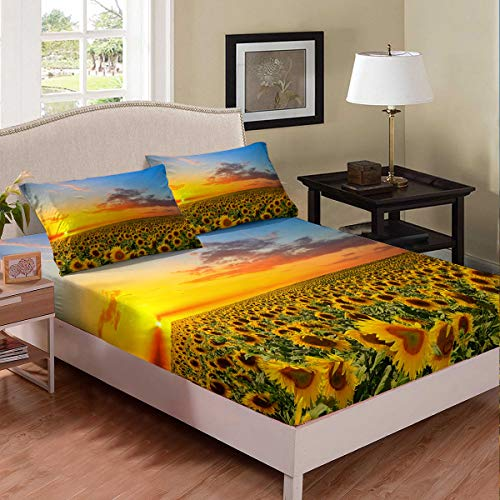 Yellow Sunflower Fitted Sheet Queen Floral Decor Bedding Set Flower Botanical Sheet Set Soft Simple Breathable Sunflower Fitted Sheet Deep Pockets for Adult Teen Kids Plant Flower Theme Fitted Cover