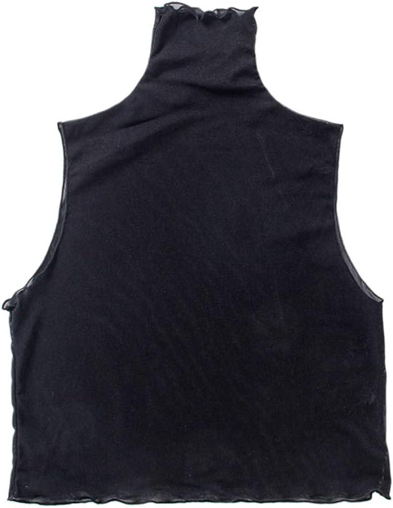 YOUSIKE Neck Chain, Korean Women Girls Pleated Turtleneck False Collar Pullover Vest Style Crop Top Sheer Mesh Ruffles Decorative Thin Half-Shirt