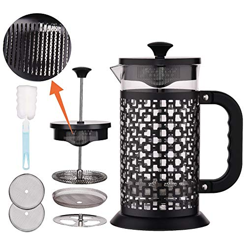 VTWTV French Press Coffee Maker(34 oz), 304 Stainless Steel Coffee Press with 4 Filter Screens, Durable Easy-to-Clean Heat Resistant Borosilicate Glass-100% BPA Free… (Black-1)