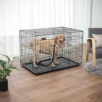 FEANDREA Cage pour Chien, avec 2 Portes, 122 x 74,5 x 80,5 cm, Noir PPD48BK