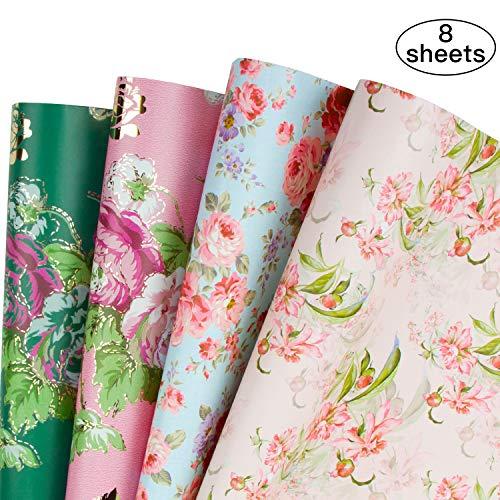 RUSPEPA Geschenkpapier Blätter - Floral Design Hochzeit, Geburtstag, Muttertag, Glückwunsch - 8 Gefaltete Blatt - 50 X 70 cm