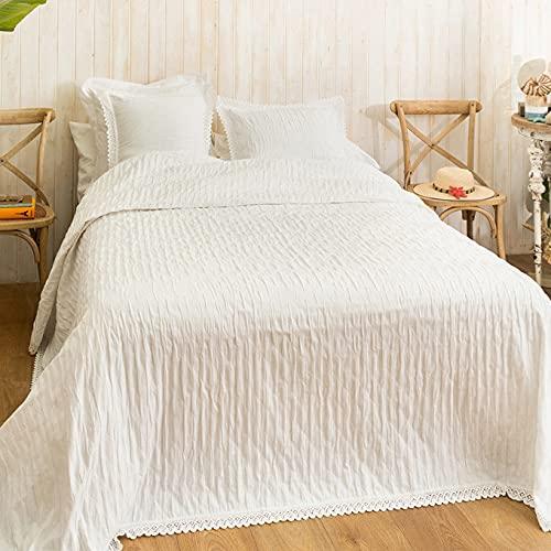 LA MALLORQUINA Colcha de Piqué - Camelia (Cama 150 o 160cm - 250x260 cm - Blanco) | Colchas de Lujo y Diseño de Algodón