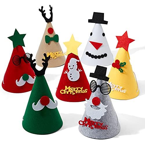 15 Cappelli da Festa di Natale per Bambini e Adulti| Feltro Premium, Riutilizzabile, Ecologico| Albero Babbo Natale Renne e Altro| Costume Natalizio Divertente per Feste a Casa, in Ufficio.