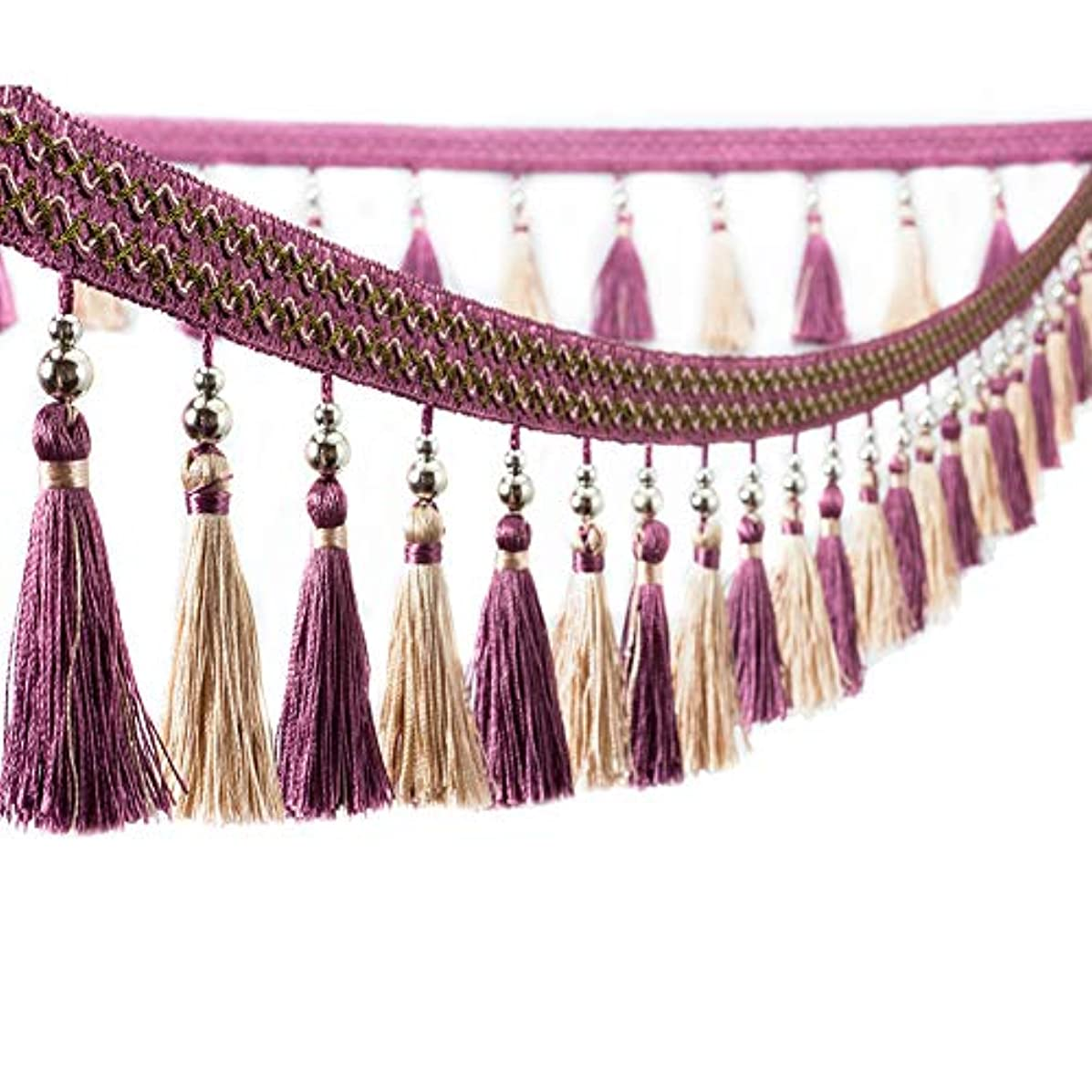 Trycooling 12.5 Yard Multicolor Beaded Hanging Ball Tassel Fringe Trim for Curtain Home Decoration (Purple)