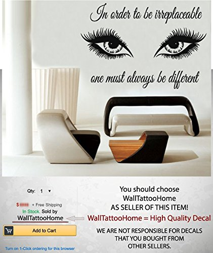 Wall Decals Quote In Order To Be Irreplaceable Decal Eyes Eyelashes Makeup Girl Woman Cosmetic Vinyl Sticker Beauty Salon Bathroom Home Decor Art Mural Ms391 by WallTattooHome