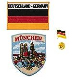 A-ONE - Confezione da 3 toppe con scudo di Monaco di Baviera + bandiera della Germania + distintivo della bandiera della Germania