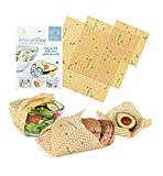 ENVUELBEE Beeswax Food Wrap Set – 3 Different Sizes Reusable, Washable, and Compostable Wraps – Eco-Friendly Natural Alternative to Plastic Wrap – 1 Large, 1 Medium and 1 Small - Hive Print