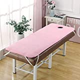 KKCD Beauty Bed Topper with Face Hole,Massage Table Beauty Bed Memory Foam Mattress Topper,Beauty Salon Flannel Foldable Mattress,Non-Slip,Trapezoidal Head,pink,70 * 185cm