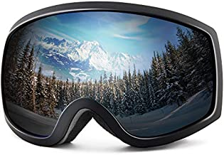 Wantdo Adult Ski Goggle Snowboard Glasses Snowmobile Skate Motorcycle Riding Dual Layers Lens Anti-Fog UV 400 Protection OTG Helmet Compatible for Men Women Youth Unisex Silver