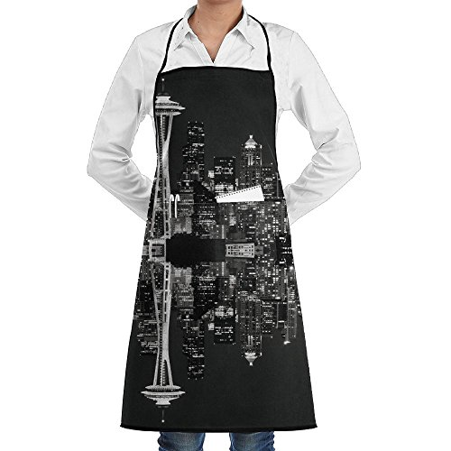 ZSDWW Unisex Chef's Aprons Deluxe Seattle Skyline At Night Professional Grade Chef Apron For Kitchen, BBQ