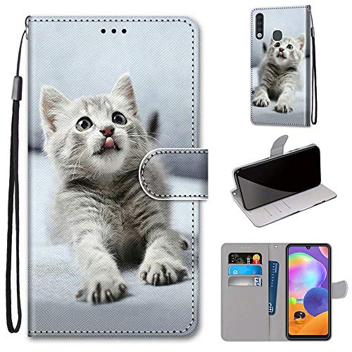 Miagon Flip PU Leder Schutzhülle für Samsung Galaxy A70e,Bunt Muster Hülle Brieftasche Case Cover Ständer mit Kartenfächer Trageschlaufe,Grau Katze