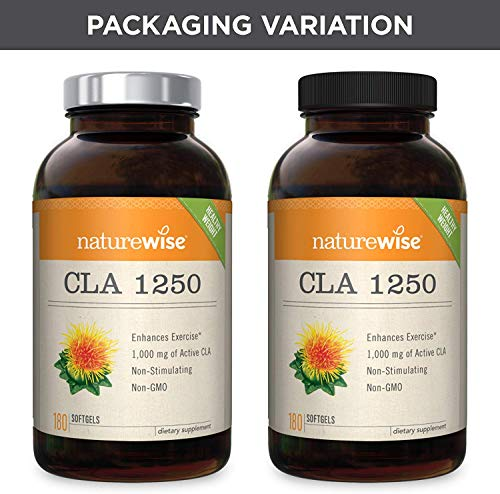 NatureWise CLA 1250, High Potency, Natural Weight Loss Exercise Enhancement   Increase Lean Muscle Mass, Non-Stimulating   Non-GMO, Gluten-Free, & 100% Safflower Oil [2 Month Supply - 180 Count]