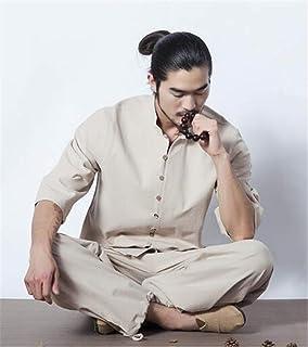 peiwen Ropa de Cama de algodón Natural/Comodo Loose/Men 's Yoga Wear Suit/Men' s Outdoor Ropa Deportiva/Taekwondo y Artes Marciales