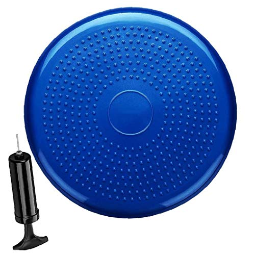 Wobble Cushion 34CM, Inflatable Air Stability Balance Board with Pump, Anti-Slip Surface Posture, Fitness Trainer Disc for Exercise Workout Blue