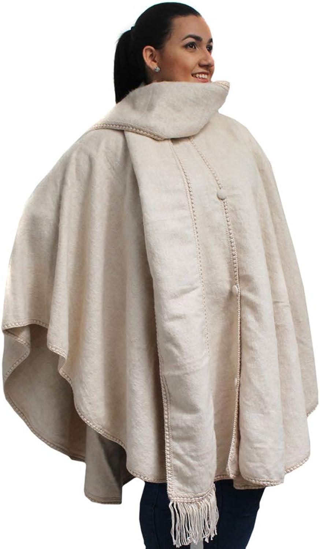 CELITAS DESIGN Alpaca Wove Wool Cape Ruana Poncho Wrap with Scarf Made in Peru