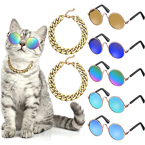 Set di 7 Costume per Cani Include Catena Regolabile in Oro per Animali e Gatto Divertente Simpatico Occhiali Sole per Cani Gatti di Taglia Piccola Medio e Animali Retrò (Colori Freschi)