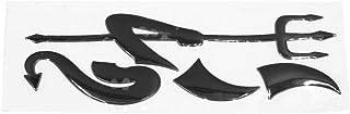 sourcing map Auto Kleiner Teufel Dämon Aufkleber 3D Reflektierend Wasserdicht Schwarz